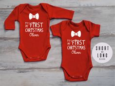135fe918a MY FIRST CHRISTMAS Personalized Baby Boy Outfit, My First Christmas Outfit,  Red Bodysuit, Christmas Baby Boy Outfit, Baby Christmas Outfit