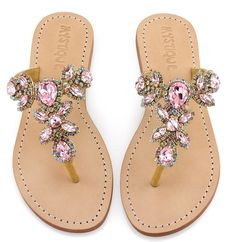 Mystique Sandals features unique hand crafted leather women's sandals that are embellished with jewelry Rhinestone Sandals, Beaded Sandals, Pink Sandals, Embellished Sandals, Shoes Sandals, Wedge Boots, Shoe Boots, Cute Shoes, Me Too Shoes