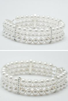Pearl Brides Jewelry / Pearl Cuff Bracelet for a nautical wedding
