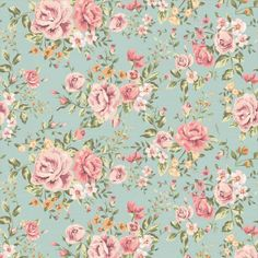 Papel de parede floral rosas em cores laranja, verde e rosa 016