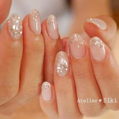 Pin by louisefenimore fenimore on nails wedding nails design, wedding nails Sparkle Nail Designs, Bridal Nails Designs, Wedding Nails Design, Sparkle Nails, Nail Art Designs, Wedding Nails For Bride, Bride Nails, Nail Wedding, Cute Nails