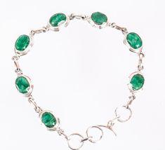 925 Sterling Silber Smaragd Armbänder MCBL-1004 von Edelstein-Schmuck auf DaWanda.com
