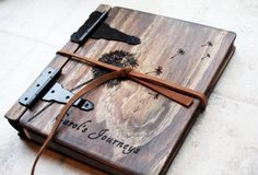 Unique Wood Photo Album, Journal + Dandelion, Artist Portfolio, Large Custom Personalized Wood Book, Unique Gift Idea, Personalize Wood Book