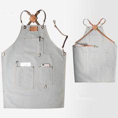 Unisex Long Gray Canvas Apron with Genuine Leather Straps. Convenient Pockets. Suitable for Uniform of Barista,Bartender,Baker,Chef,Waiter/Waitress,Barber,Stylist,Hairdresser,Florist,Painter,Gardener, Work Wear at Cafe,Restaurant,Hotel,Bistro,Diner,Salon, Tattoo shop,Craft workshop etc.
