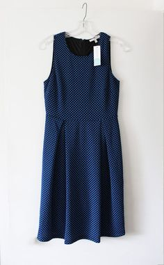 41Hawthorn Jace Dot Print Fit & Flare Dress in Blue from Stitch Fix. Perfect knee length, very flattering pleats. Great price! Business casual, brunch, or shower.