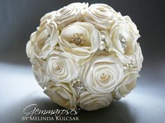 Bridal Fabric Bouquet - Brooch Bouquet - ivory Fabric Bouquet, Unique Wedding Bridal Bouquet on Etsy, $220.00