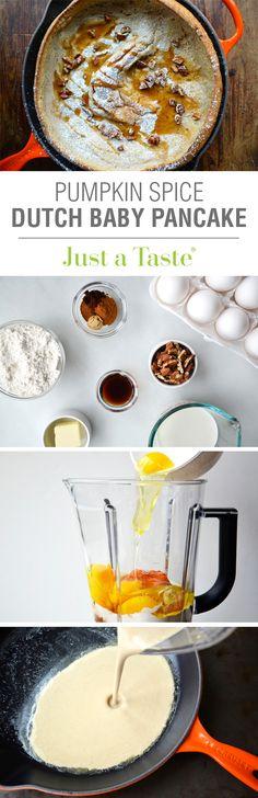 Pumpkin Spice Dutch Baby Pancake #recipe via justataste.com