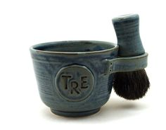 Personalized Shaving Set: Black Badger Hair Shave Brush, Shave Mug with Monogram or Initials and Shave Soap, Gift for Men, Best Man, Dads. $85.00, via Etsy.