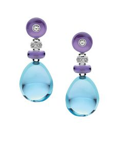 White Gold Earrings With Large Tumble Topaz (blue) And Amethyst (purple)Beads With Diamond Accents And Pave Diamonds Bulgari Mediterranean Eden - Sassi Collection Art Deco Earrings, Art Deco Jewelry, High Jewelry, Jewelry Design, Women Jewelry, Fashion Jewelry, Gold Earrings, Jewellery Earrings, Amethyst Earrings