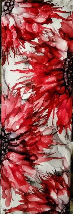 SOLD. Spritzed flowers in alcohol ink on 12x4 tile with slate, pitch black and poppy field. By Tina: