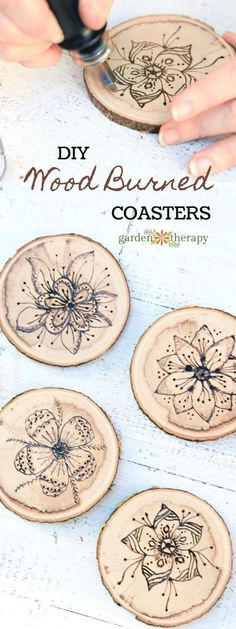 Wood Burned Coasters with Floral Pyrography How to Make Wood Burned Coasters. A simple unique gift item or complement to any home decor. The ideas are boundless! The post Wood Burned Coasters with Floral Pyrography appeared first on Wood Diy. Wood Burning Crafts, Wood Burning Patterns, Wood Burning Art, Wood Burning Projects, Easy Woodworking Projects, Wood Projects, Woodworking Tools, Woodworking Furniture, Carpentry Projects