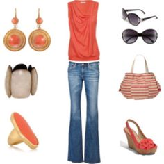 Coral, jeans & wedge