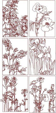 Advanced Embroidery Designs - Redwork Flower Panel Set
