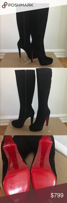Christian Louboutin Lady Boot $1495 - run Small Brand new excellent never worn black suede Lady Boots. MSRP $1,495. These run very small so will probably fit a 9 U.S. size best. Purchased for mom who is usually a 39.5 in Louboutins and 8.5 U.S. and they are too tight for her so she never wore them. Extremely comfortable with great platform support. Christian Louboutin Shoes Heeled Boots