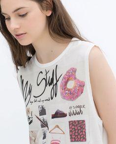 Imagen 5 de CAMISETA MY DTUFF de Zara Zara Official Website, Pop Culture, Tees, T Shirt, Inspiration, Illustration, Women, Fashion, T Shirts