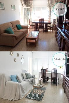 Antes y despues de Home Staging en salon amueblado