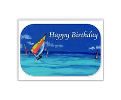 Sailboarders Happy Birthday Digital by CowberryMoonCards on Etsy