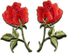 Red roses pair flowers floral retro boho hippie applique iron-on patch new S-410