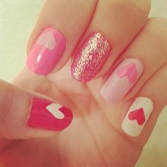 Heart nails for Valentine's Day.