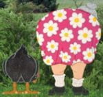 fee plans woodworking resource from WoodworkersWorkshop Online Store - bent over,lady,girl,woman,chicken,wooden,yard art,outdoors,gardens,fe...