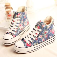 2014 spring new heavy-bottomed   Floral canvas shoes women casual student sneakers  zapatillas