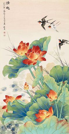 Ink Pen Art, Lotus Painting, Lotus Art, Japanese Artwork, Art Japonais, Korean Art, China Art, Buddhist Art, Japan Art