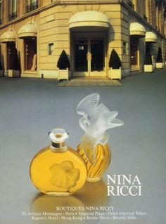 Nina Ricci, Perfumes — Images and vintage original prints Parfum Paris, Paris Perfume, Perfume Ad, Cosmetics & Perfume, Vintage Perfume, Perfume Bottles, Nina Ricci Parfum, Lovely Perfume, Beauty Ad