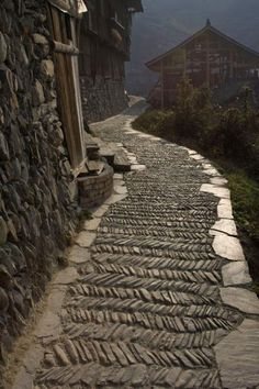 One of the narrow streets of Xijiang, Xijiang, China Would love a pattern like this on a walkway Places Around The World, Around The Worlds, Beautiful World, Beautiful Places, Garden Paths, Garden Design, Path Design, Landscape Design, Design Ideas