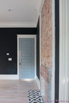 Wall color is Sherwin Williams Inkwell. Door paint color is a 50/50 mix of Sherwin Williams Stardew and Uncertain.