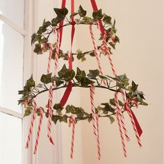 hanging candycane wreath.  Make this into a chandelier