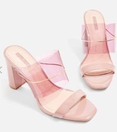 Raquel Chain Perspex Mule Sandals - New In Fashion - New In - Topshop Europe Heeled Mules Sandals, Shoes Sandals, Top Shoes, Strappy Shoes, Navy Shoes, Shoes Men, Cute Shoes, Me Too Shoes, Cute Slippers