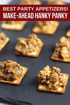 Need an EASY, Make Ahead, and DELICIOUS Crowd-pleasing Appetizer? These cheesy, meaty, Hanky Panky Appetizers are for you! They can be made ahead and frozen just like you see in this pic, then heated up in the oven whenever you are ready to serve. #appetizers #makeaheadappetizers #partyfood #easyappetizers #glutenfree Best Party Appetizers, Make Ahead Appetizers, Healthy Comfort Food, Cheat Meal, Cooking With Kids, Kid Friendly Meals, Holiday Recipes, Delish, Good Food