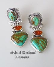 David Troutman Jewelry |Kingman turquoise, amber, sterling silver dangle clip southwestern earrings | upscale online turquoise, southwestern, native american, equine, & gemstone jewelry gallery boutique| Schaef Designs artisan handcrafted Jewelry |  New Mexico