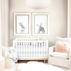 Adorable and simple nursery decor idea. The oversized bunny prints just set off the whole room.