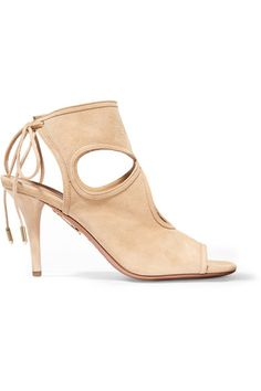 Aquazzura - Sexy Thing Cutout Suede Sandals - Beige - IT40.5