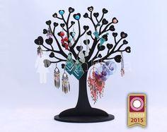 Heart shaped Wooden IN LOVE - BLACK Tree Jewelry Stand/Jewelry Organizers/Jewelry Stands/Jewellery Holders/Jewelry Organiser, handmade,heart