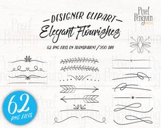 Doodly Text Divider Clip Art // Vector PS Brushes PNG files // Hand Drawn Graphics // Calligraphy Typography Lettering // Commercial Use Text Layout, Page Dividers, Spa Therapy, Drawing Clipart, Create Invitations, Typographic Design, Wedding Scrapbook, Lettering, Doodle Art