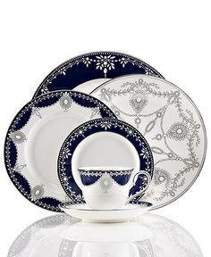 ~ Living a Beautiful Life ~ Marchesa by Lenox Dinnerware, Empire Indigo Collection - Fine China - Dining & Entertaining - Macy's Vase Deco, Lenox China, China Teapot, China Plates, China Sets, Dinner Sets, Dinner Ware, Dinner Plates, Royal Copenhagen