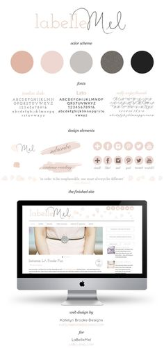 Melanie wanted a magazine-style layout that used mostly neutrals with hints of antique pink and lots of floral elements. Gorgeous design!