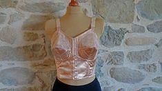 1950s longline satin and lace bullet bra torpedo bra size