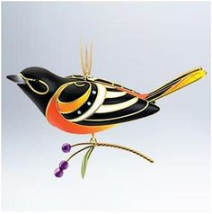 2011 Beauty Of Birds - Baltimore Oriole Ornament. This year's beauty of the birds piece is an adult male Baltimore oriole. The bird features of vibrant o Hallmark Christmas Ornaments, Bird Ornaments, Hallmark Keepsake Ornaments, Christmas Decorations, Christmas Hanukkah, Christmas Crafts, Xmas, Christmas Tree, Christmas Palette
