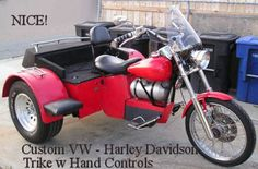 Custom Built VW Trike Three Wheel Motorcycle with Hand Controls and Automatic Transmission: This custom VW trike is the perfect motorcycle for a disabled rider.  If you miss riding because of a disability or if your legs aren't as strong as they