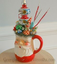 Image of Vintage Santa Pitcher Tree Topper Christmas Decoration