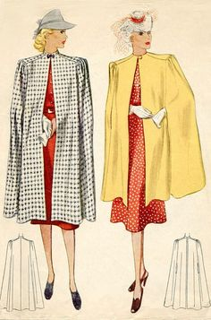 McCall Ladies' Misses' Cape. ~ bring the shoulder in some, and I think I'd like it 1930s Fashion, Retro Fashion, Vintage Fashion, Fashion Fashion, Vintage Outfits, Vintage Dresses, Vintage Dress Patterns, Clothing Patterns, Patron Vintage