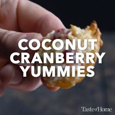Bursting with tart and sweet flavors, these cranberry coconut cookies are my favorite result from that experiment. -Amy Alberts, Appleton, Wisconsin Source by taste_of_home Candy Recipes, Sweet Recipes, Holiday Recipes, Dessert Recipes, Coconut Cookies, Pumpkin Cookies, Coconut Recipes, Eat Dessert First, Cookie Desserts