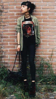 "Tattoo choker with military khaki shirt, ""Guns N' Roses"" graphic printed tee, black skinny pants & velvet combat boots by vanessa_zull"