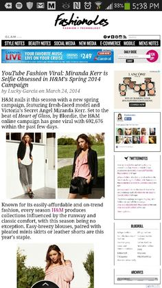 H&M gets spring ready with Miranda Kerr, read more at www.fashionotes. com!!