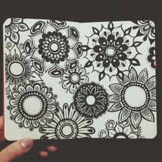 Darker Flowers, drawn in my little red moleskine with micron pens