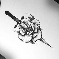 Stabbed Rose #drawing #rosetattoo #tattoo #tattoos #tatuaż #black #rosedagger #tattooidea #tattoodesign #ink #art #insta