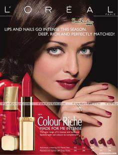 Aishwarya Rai wearing Loreal Riche lipstick 2015